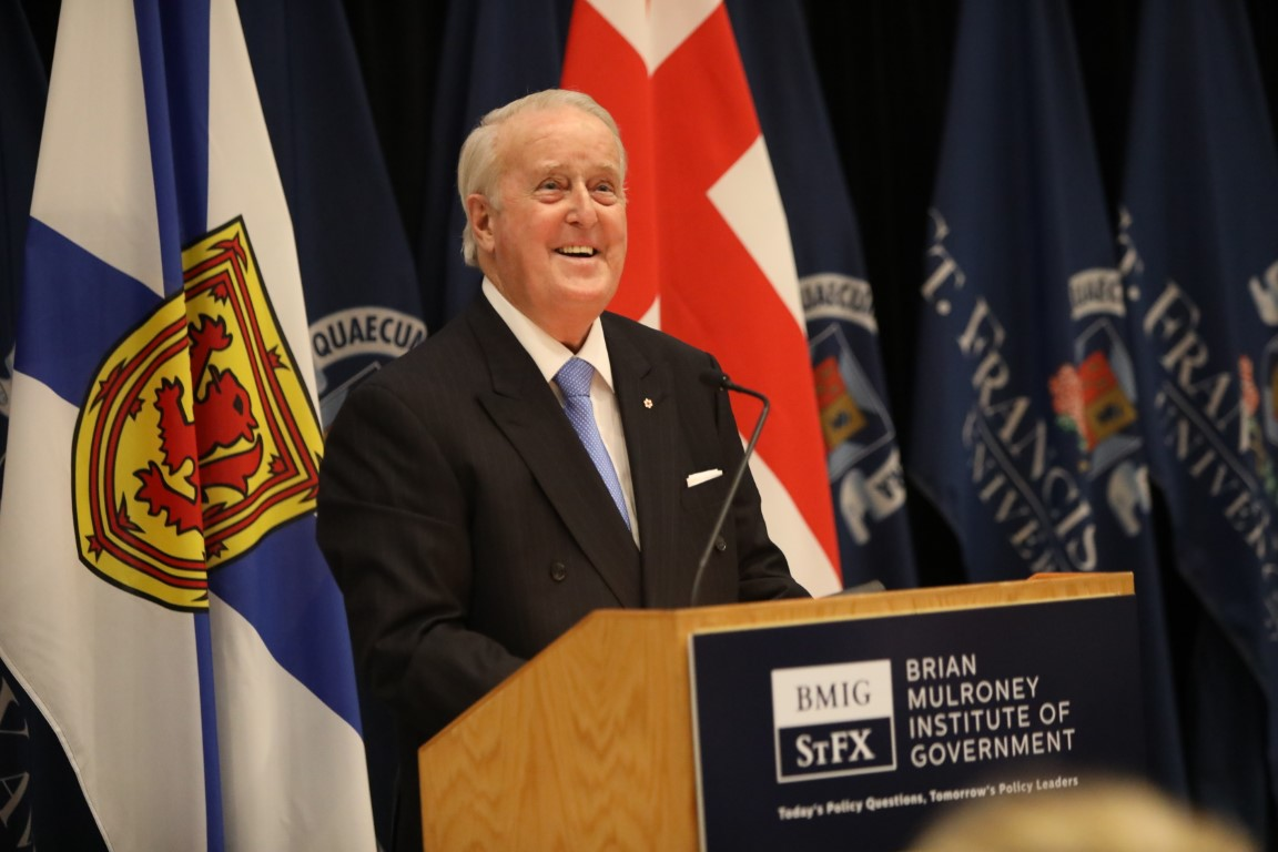 Brian Mulroney Speaking at a podium