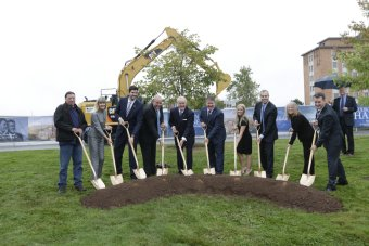 Sod turning for Mulroney Hall
