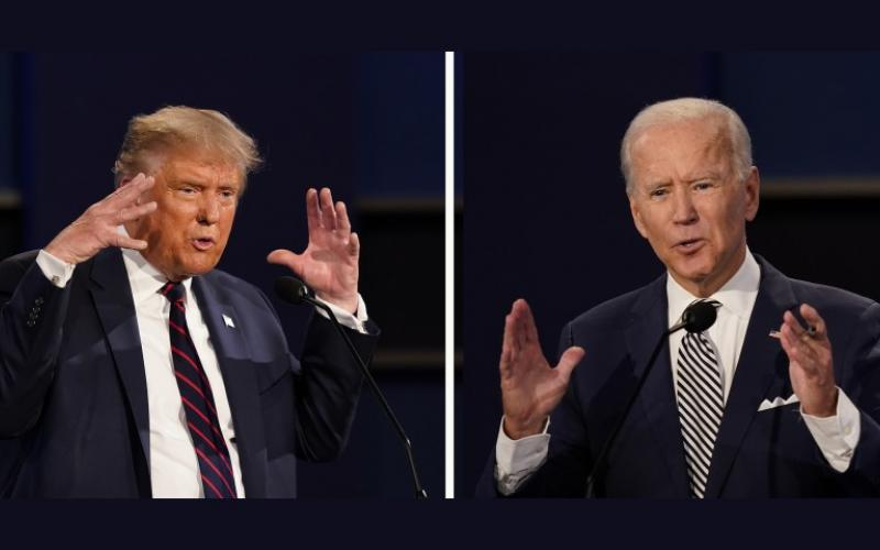 Image of Donald Trump and Joe Biden in the first Presidential Debate